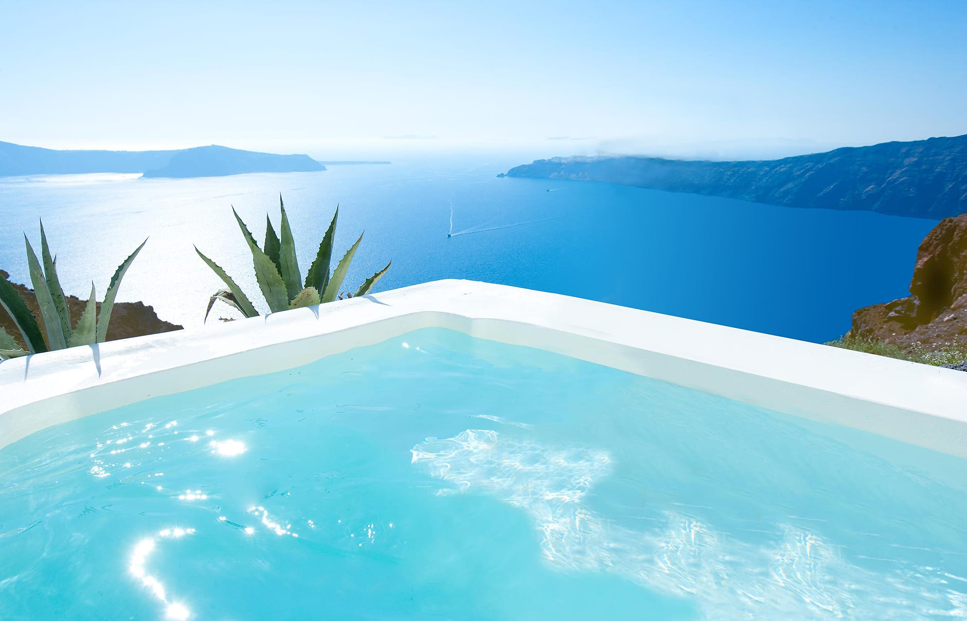 Junior Suite pool. Grace Hotel Santorini, Greece. Luxury Hotel Review by TravelPlusStyle. Photo © Auberge Resorts Collection