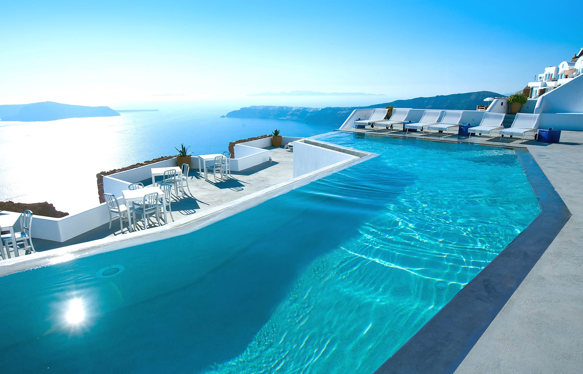 Infinity pool. Grace Hotel Santorini, Greece. Luxury Hotel Review by TravelPlusStyle. Photo © Auberge Resorts CollectionCollection
