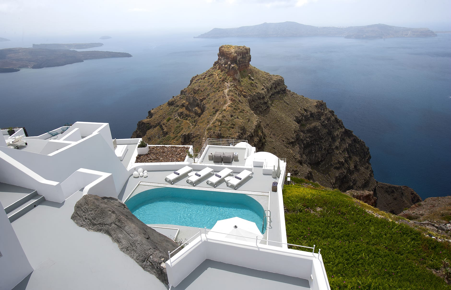 The Villa, Private Pool Terrace. Grace Hotel Santorini, Greece. Luxury Hotel Review by TravelPlusStyle. Photo © Auberge Resorts Collection