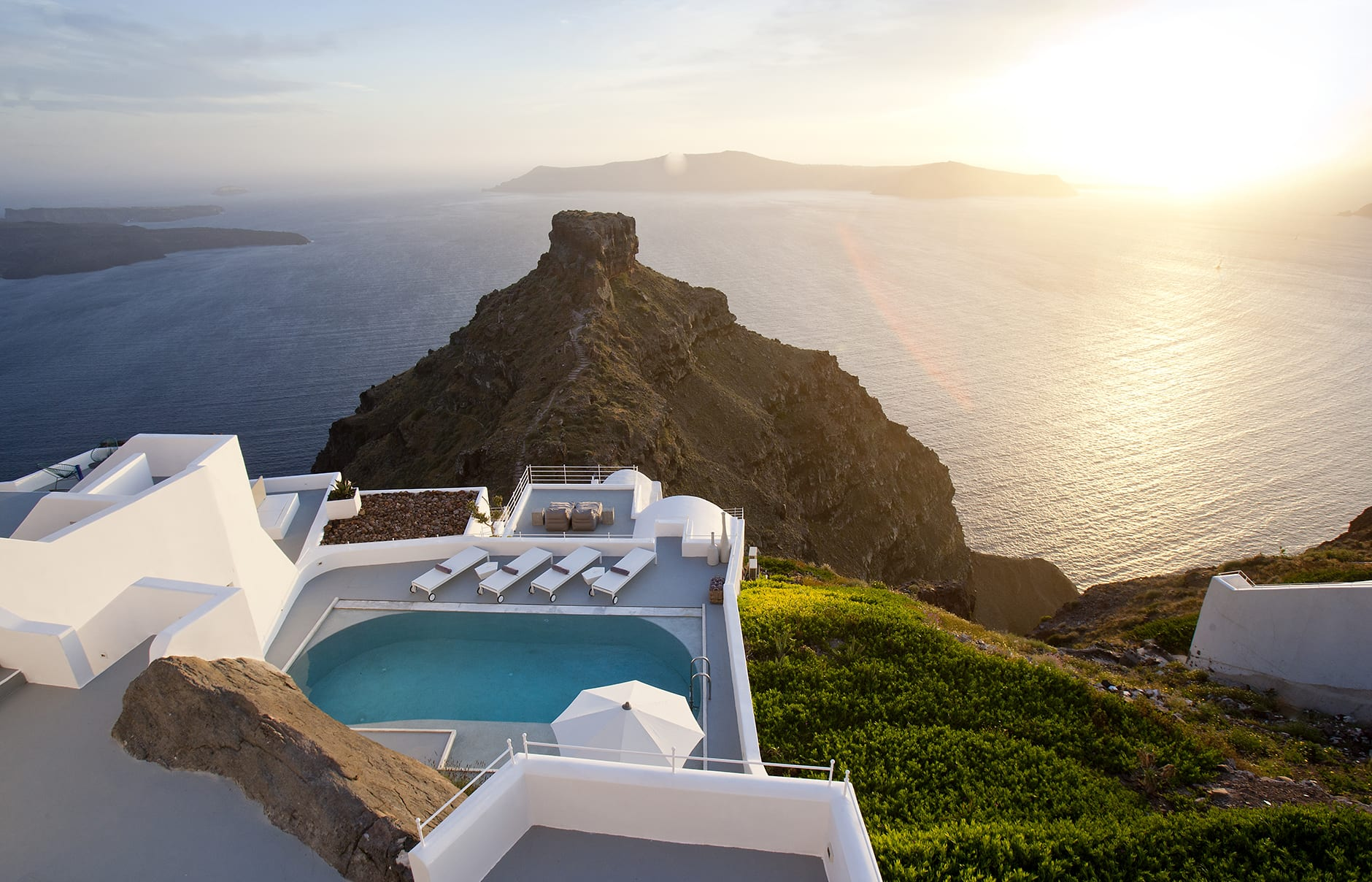 Villa Private Pool & General View. Grace Hotel Santorini, Greece. Luxury Hotel Review by TravelPlusStyle. Photo © Auberge Resorts Collection