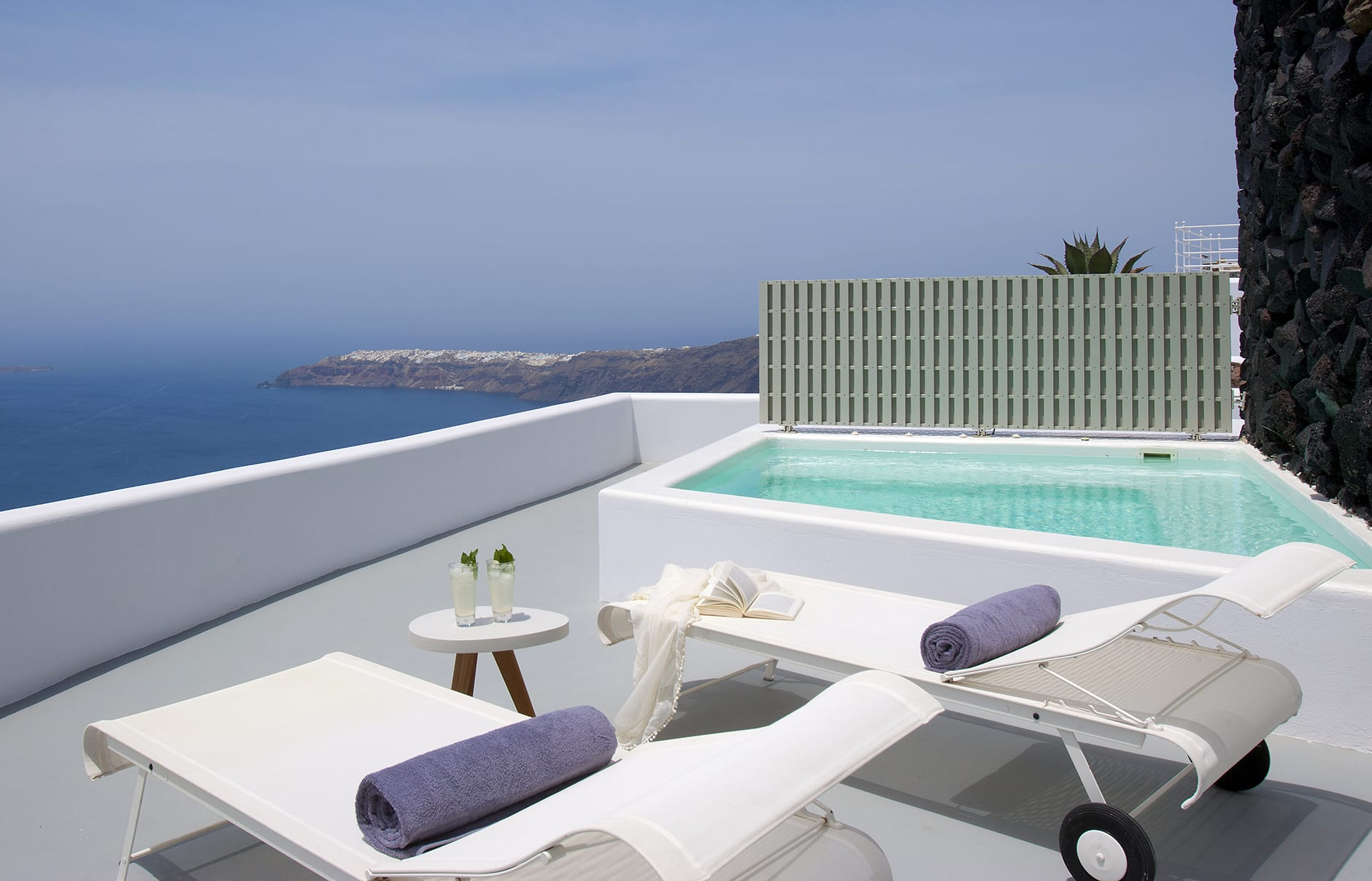 VIP Suite Terrace. Grace Hotel Santorini, Greece. Luxury Hotel Review by TravelPlusStyle. Photo © Auberge Resorts Collection