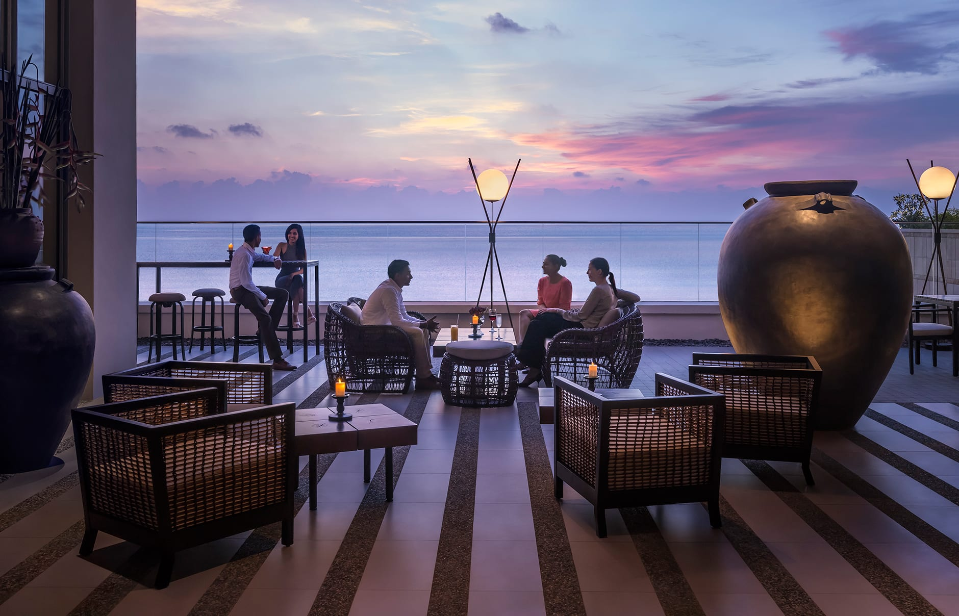 Kaema Sutra, bar terrace. Shangri-La Hotel Colombo, Sri Lanka. Hotel Review by TravelPlusStyle. Photo © Shangri-La