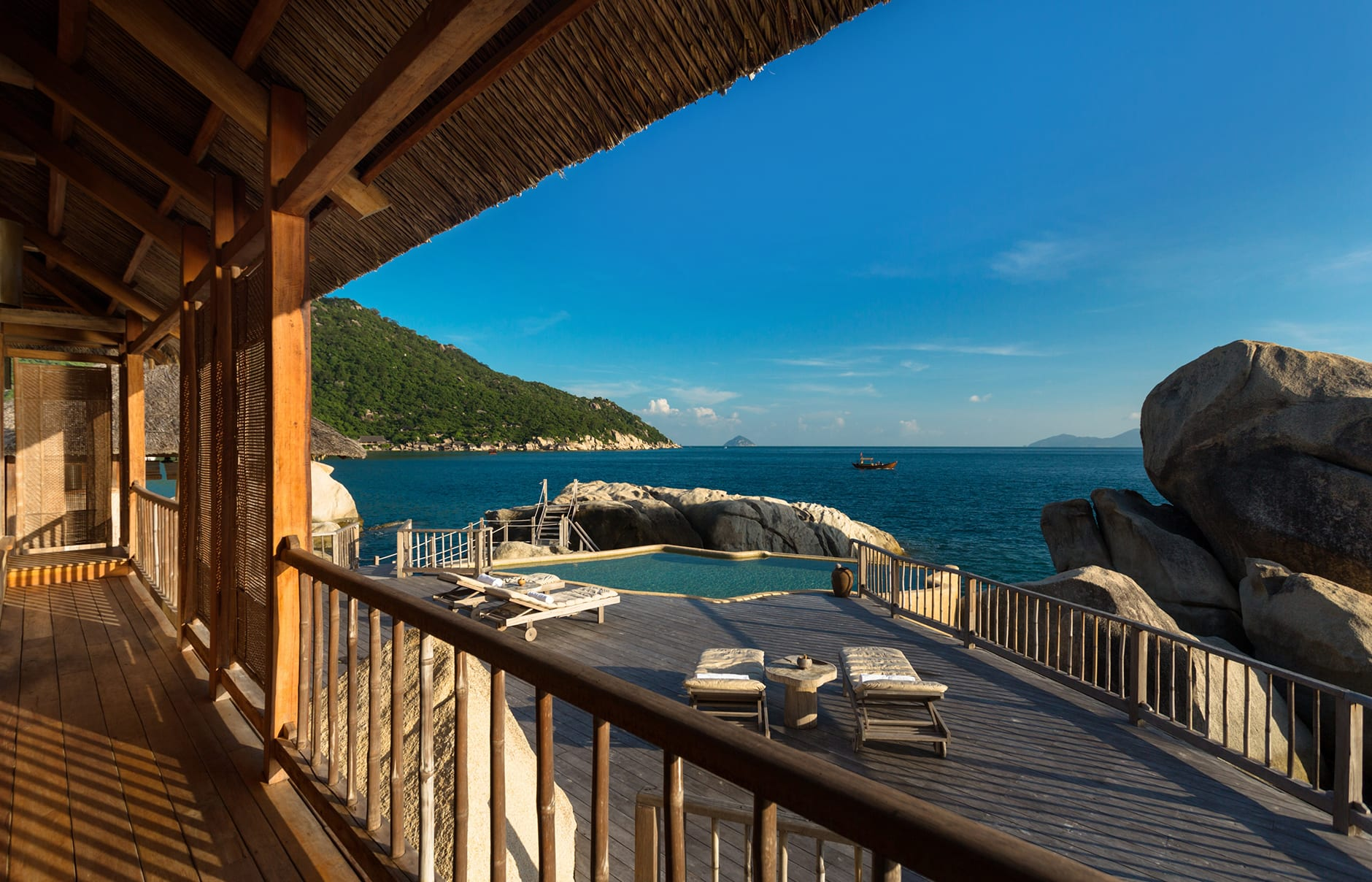 The Rock Retreat pool deck. Six Senses Ninh Van, Nha Trang, Vietnam. © Six Senses, fot. Basil Childers