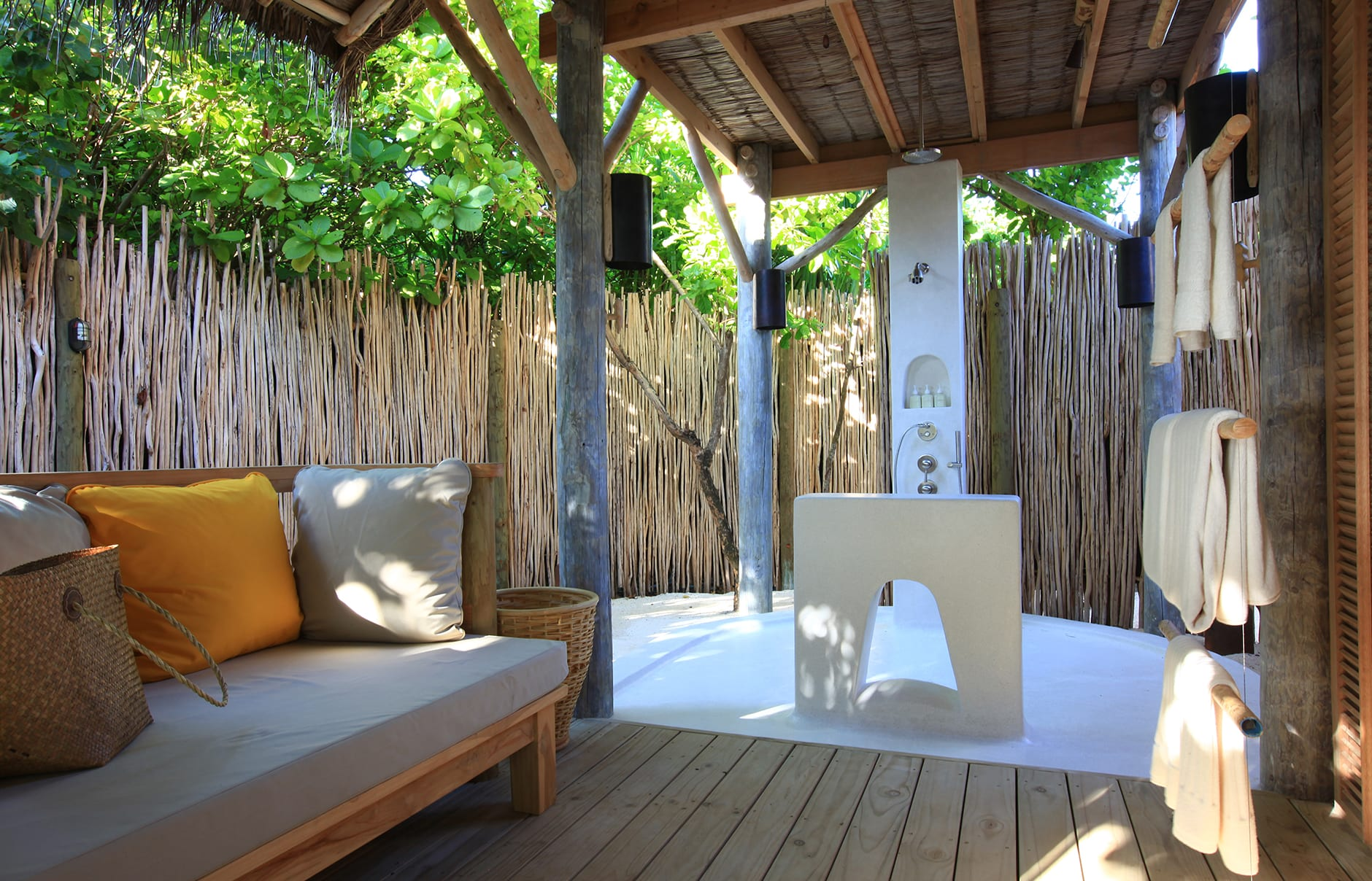 Beach Villa bathroom. Six Senses Laamu, Maldives. © Six Senses Resorts & Spas