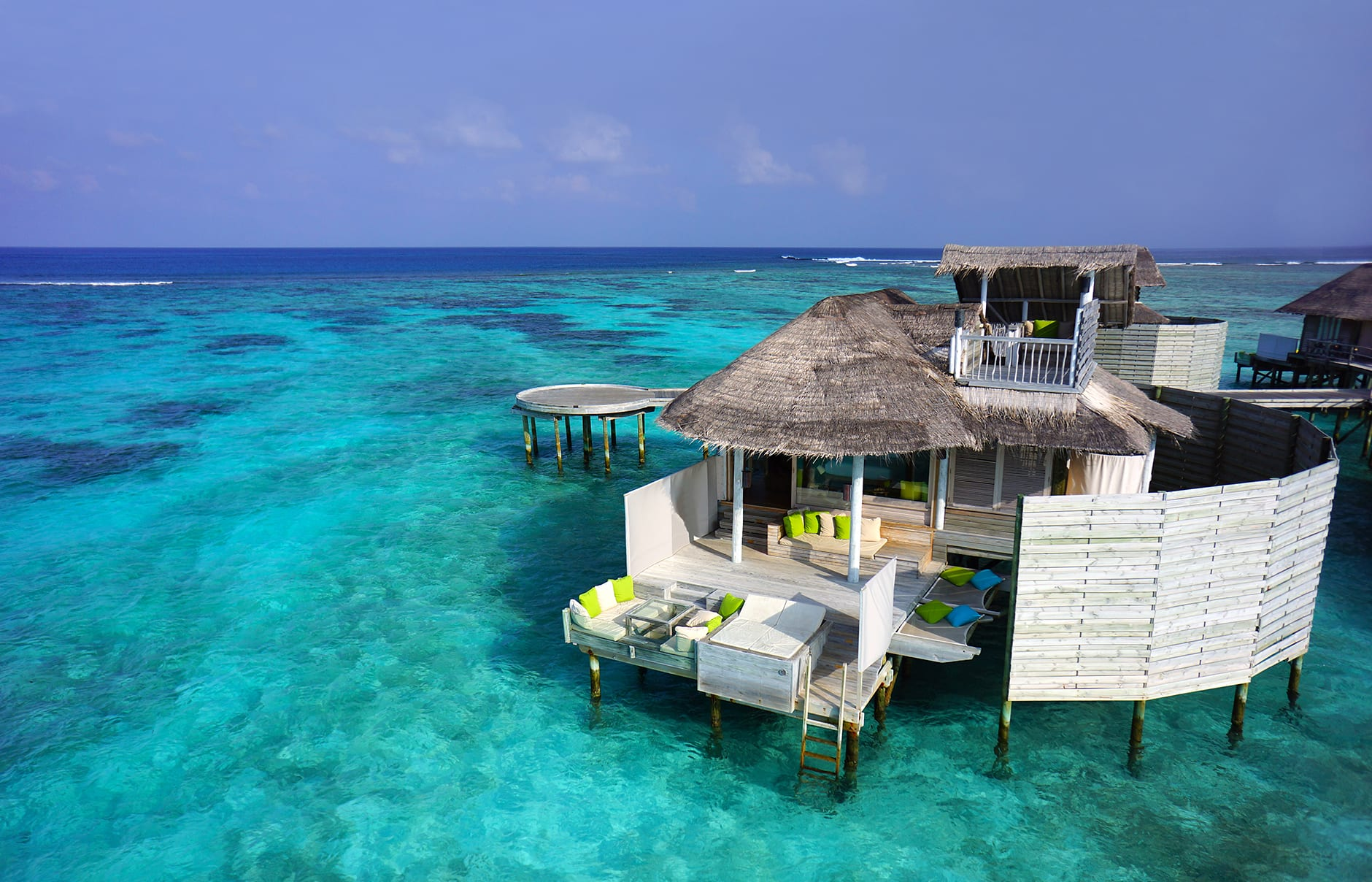 Laamu Water Villa aerial. Six Senses Laamu, Maldives. © Six Senses Resorts & Spas