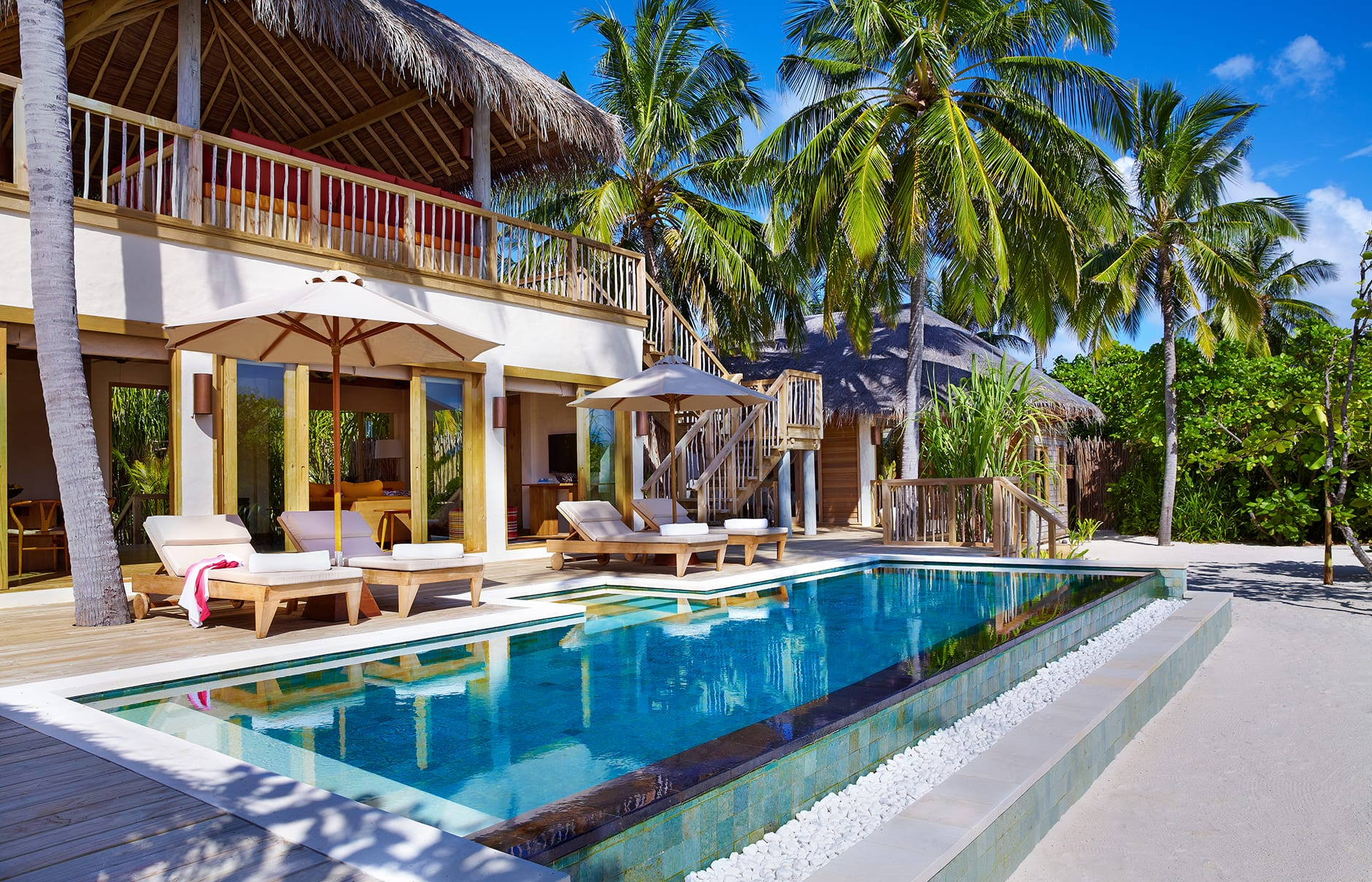 Two Bedroom Ocean Beach Villa with pool. Six Senses Laamu, Maldives. © Six Senses Resorts & Spas