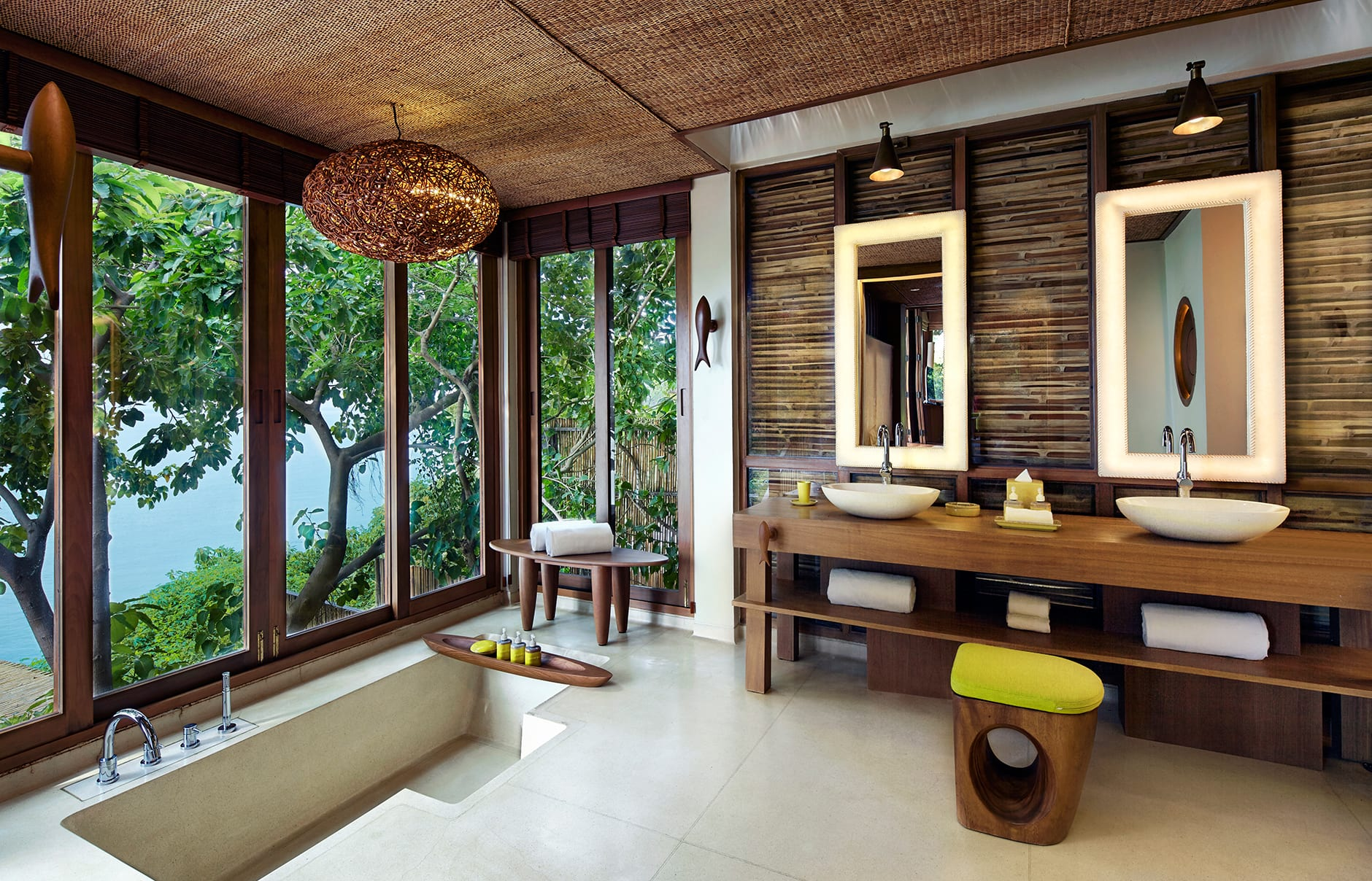 Ocean Front Pool Villa bathroom. Six Senses Samui, Thailand. © Six Senses Resorts & Spas