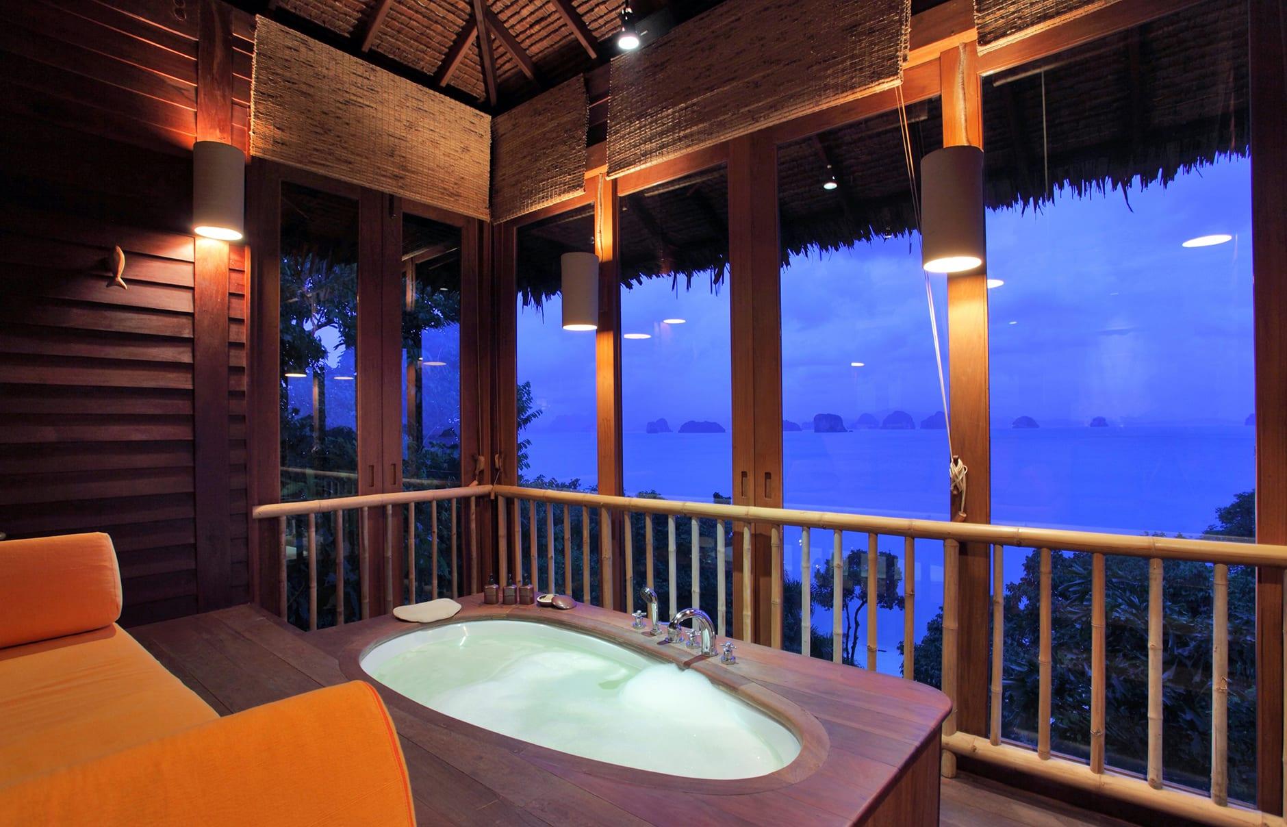 Ocean Panorama Pool Villa Bathroom. Six Senses Yao Noi Beyond Phuket, Thailand. © Six Senses Hotels Resorts Spas
