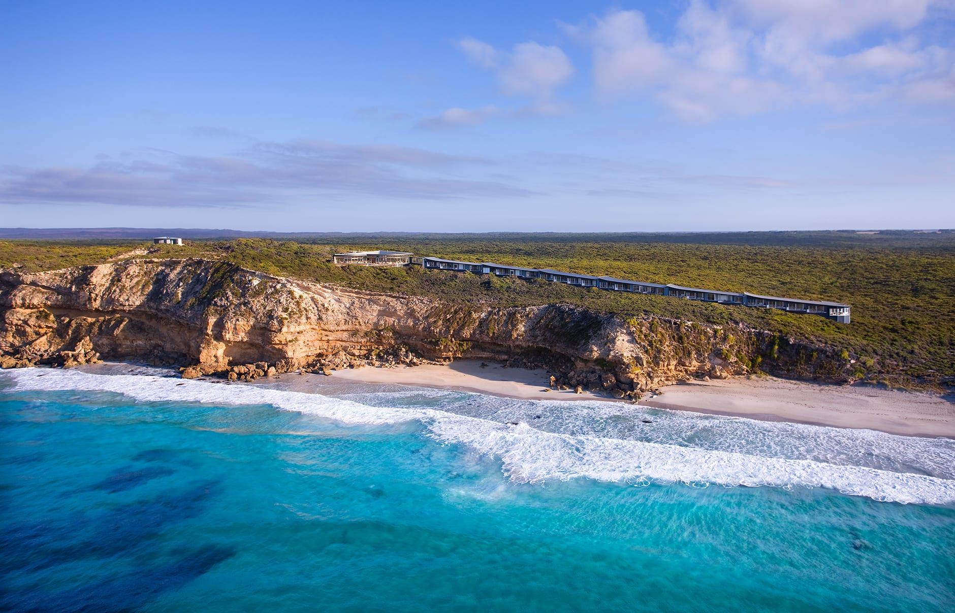 Lodge Aerial. Southern Ocean Lodge, Kangaroo Island, Australia. © Luxury Lodges of Australia