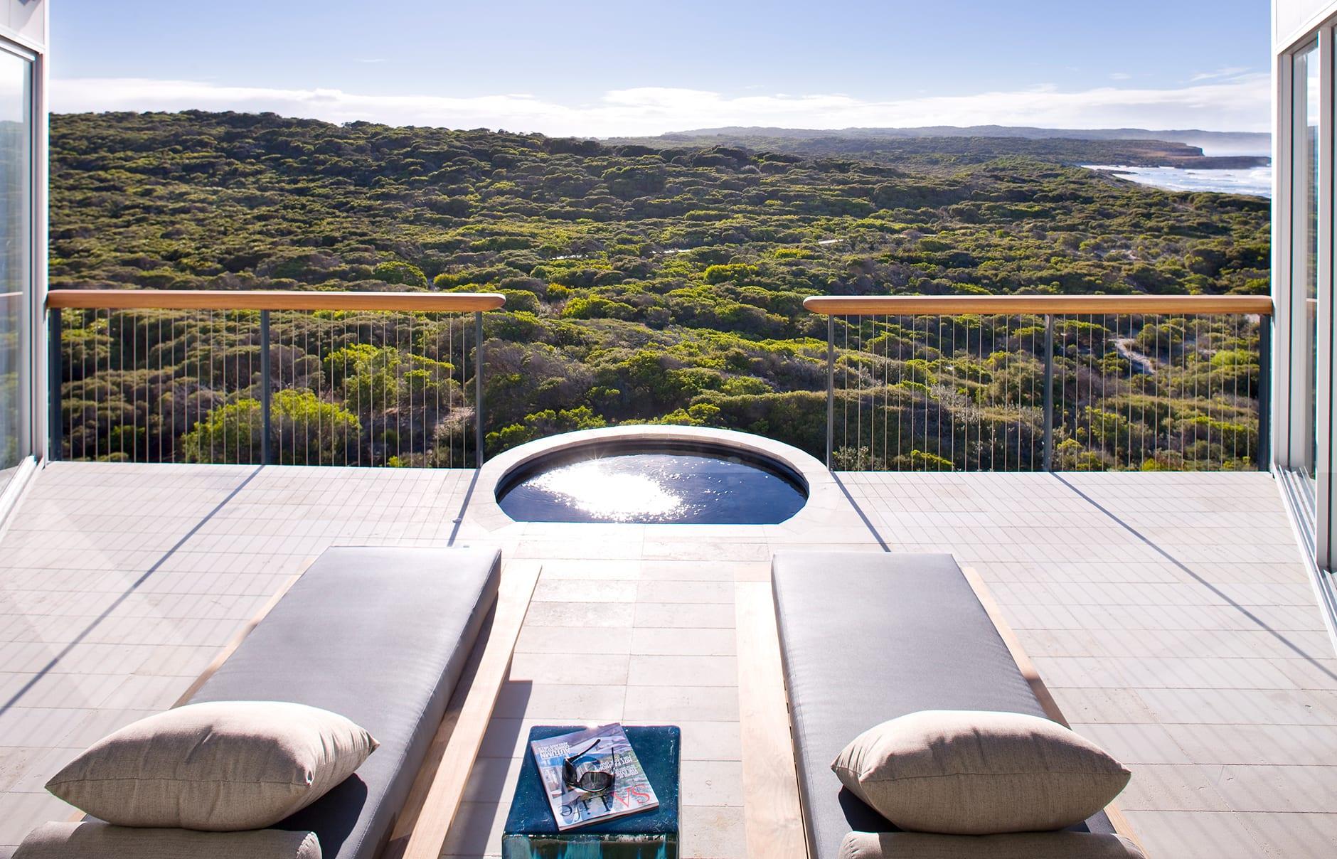 Osprey Pavilion Terrace. Southern Ocean Lodge, Kangaroo Island, Australia. © Luxury Lodges of Australia