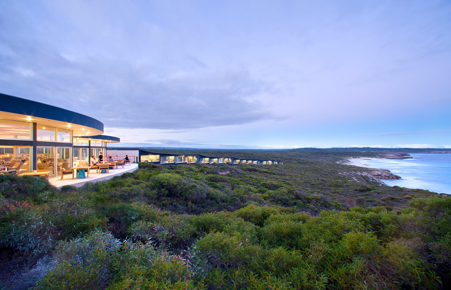 Lodge Sunset. Southern Ocean Lodge, Kangaroo Island, Australia. © Luxury Lodges of Australia