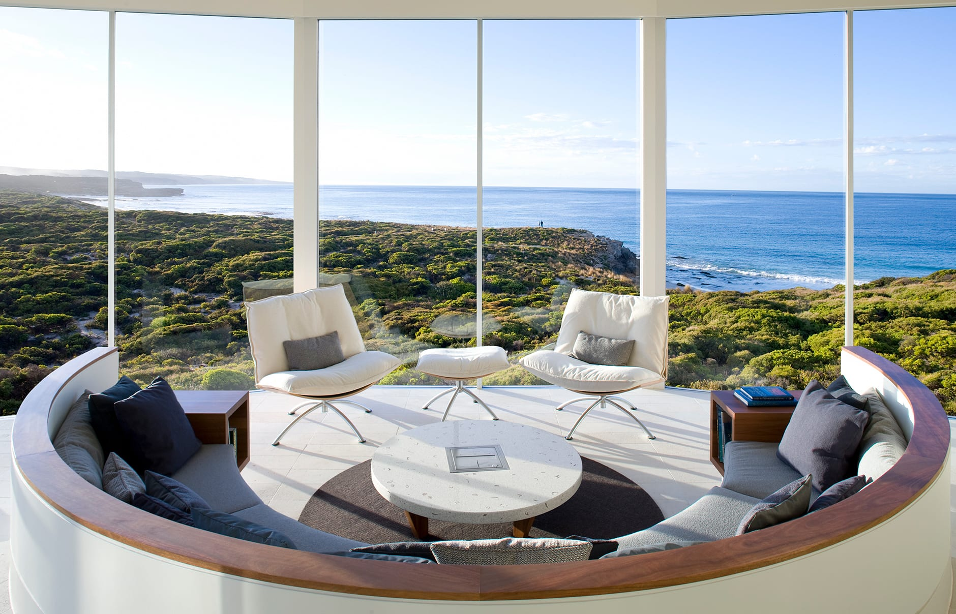 Osprey Pavillion Lounge. Southern Ocean Lodge, Kangaroo Island, Australia. © Luxury Lodges of Australia