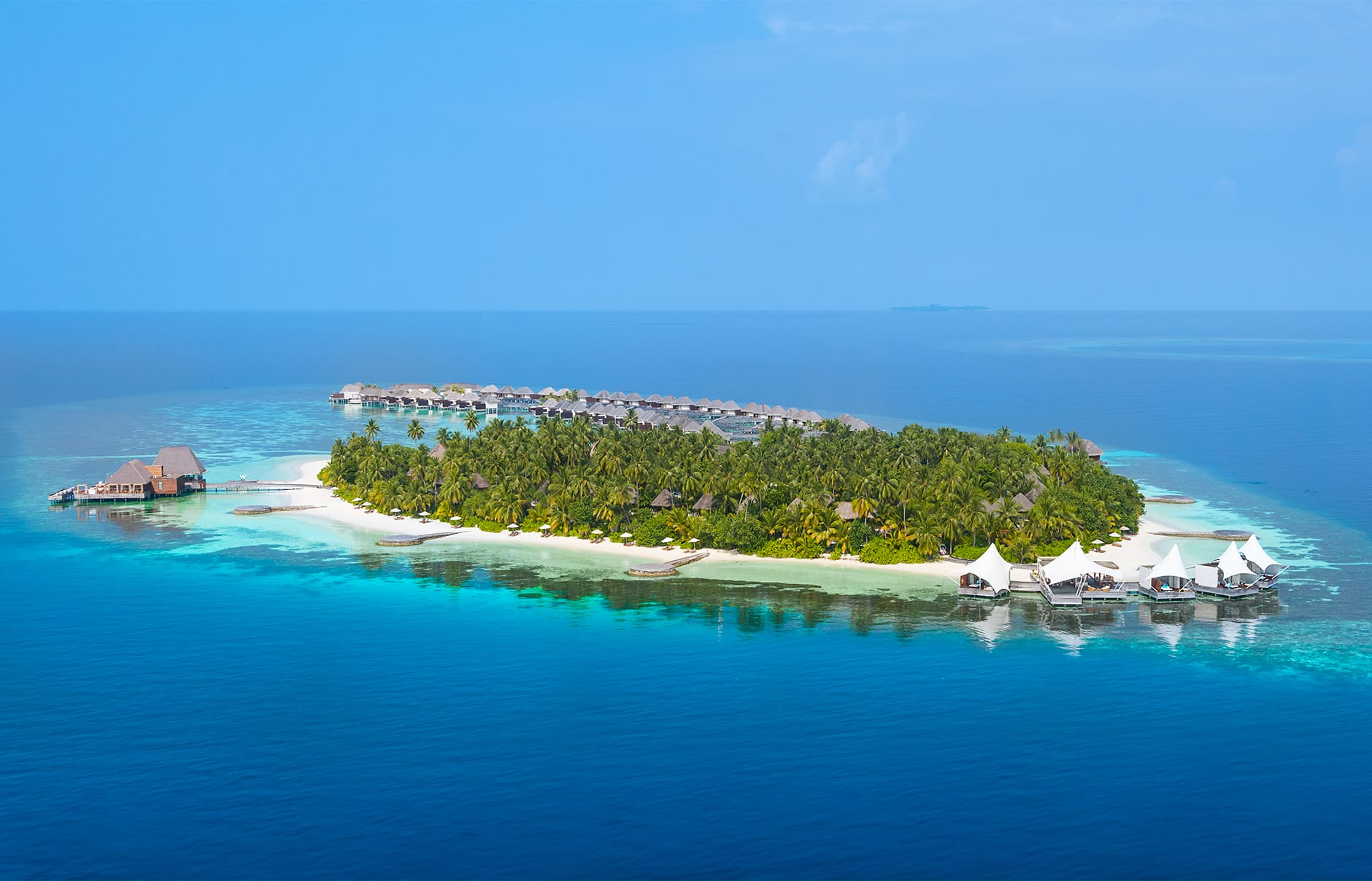 Aerial view. W Maldives, Fesdu Island, Maldives. Hotel Review by TravelPlusStyle. Photo © Marriott International