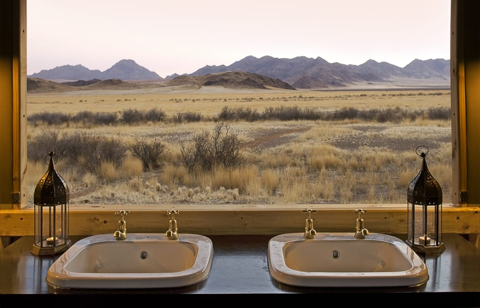 Bathroom view. Wolwedans Boulders Camp, Namibia. © Wolwedans