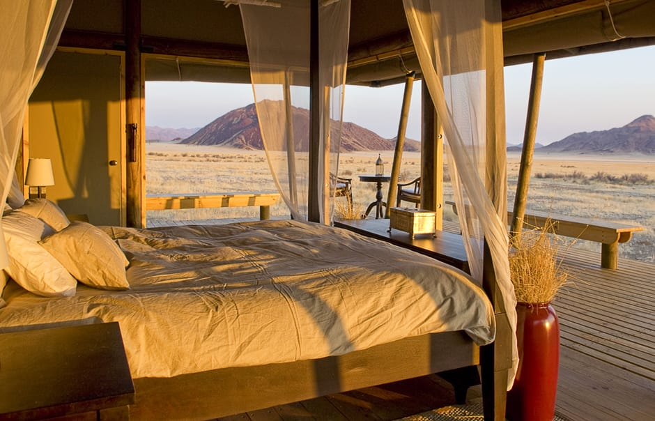 Tent bedroom. Wolwedans Boulders Camp, Namibia. © Wolwedans