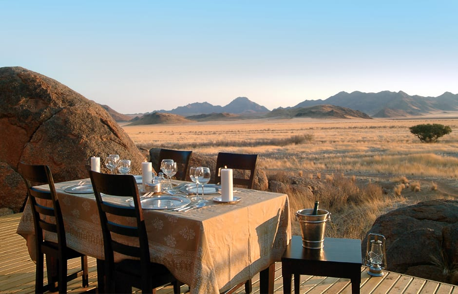 Dinner table. Wolwedans Boulders Camp, Namibia. © Wolwedans