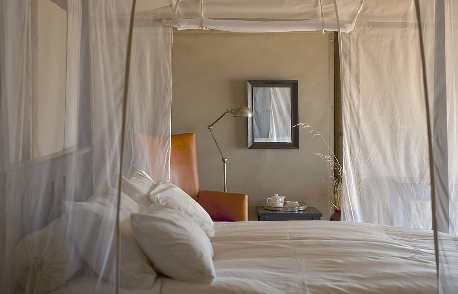 Close up bed. Wolwedans Dunes Lodge, Namibia. © Wolwedans