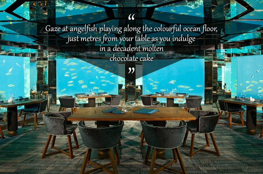 The underwater restaurant at Anantara Resort Kihavah ...